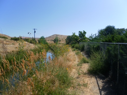 The Bruneau Canal in Idaho, where I originally imagined the character in the story would walk. I swapped it for the Red River that separates North Dakota and Minnesota, as a more believable place for the character to lose her money in the wind.